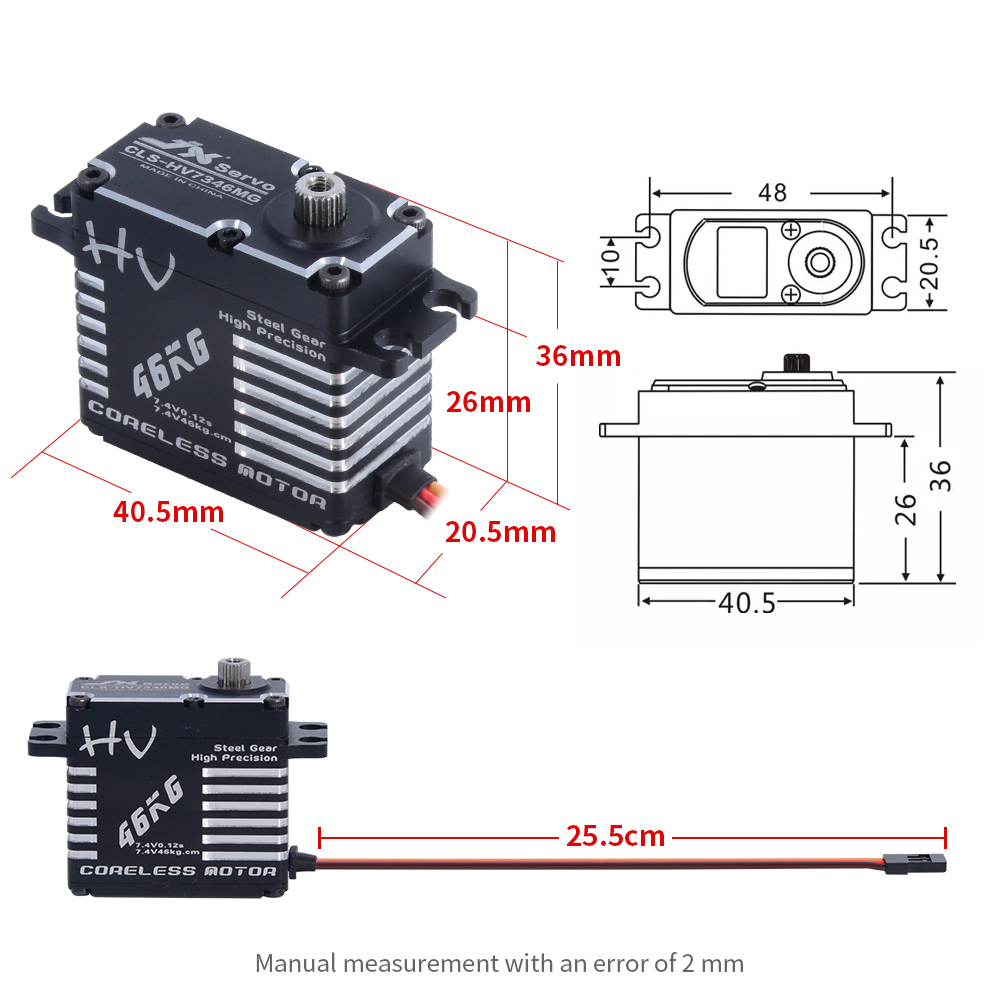 Image 5 - JX Servo CLS HV7346MG 46kg Coreless High Precision Steel Gear Full CNC Digital Servo for RC Car Crawler RC Boat Airplane Robot-in Parts & Accessories from Toys & Hobbies