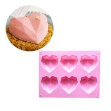 6-Полость 3D «любящее сердце» в форме ромба прямоугольной формы DIY силиконовые формы мусс шоколадный торт Мыло пудинг пресс-форма ручной инструмент лоток