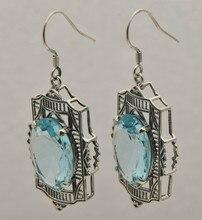 Envío gratis el 2015 nueva corona Edward 1910 vintage 925 7.1 ct aquamarine mujeres pendientes
