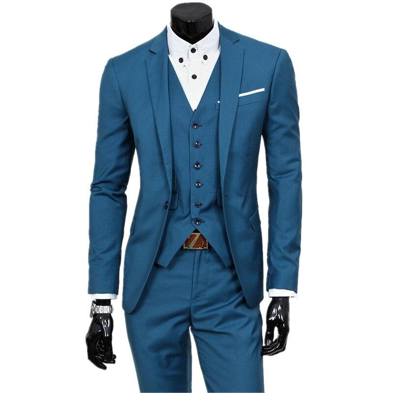 Veste de costume + gilet + pantalon/ensembles trois pièces/2019 nouveaux hommes un bouton de mariage blazers manteau/hommes gilet et pantalon