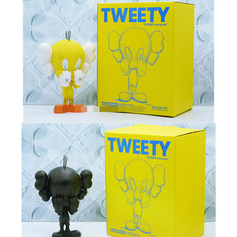 Fashion Toys 8inch Original fake Kaws Tweety With Original box yellow Black medicom toy optional блузон fake ethics youth 8 16 лет
