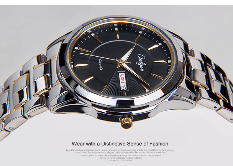 Mens Watches Top Brand Luxury Wristwatches Onlyou Women Stainless Steel Gold Watch Luminous Hands Lovers Watches Male Clock 8892 onlyou luxury brand watches mens womens quartz wrist watch steel ladies dress watch silver gold female male watch clock 8865