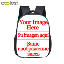 12 inch Customize Your Logo Name Image Toddlers Backpack Cartoon Children School Bags Baby Kindergarten Backpack Kids Gift Bags(China)