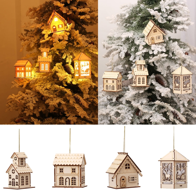LED Light Wood HOUSE Cute Christmas Tree Hanging Ornaments Holiday Decoration Dropshipping image