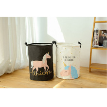 Lovely Cartoon Unicorn Folding Waterproof Laundry Basket Dirty Clothes Toys Sundries Storage Bucket For Household