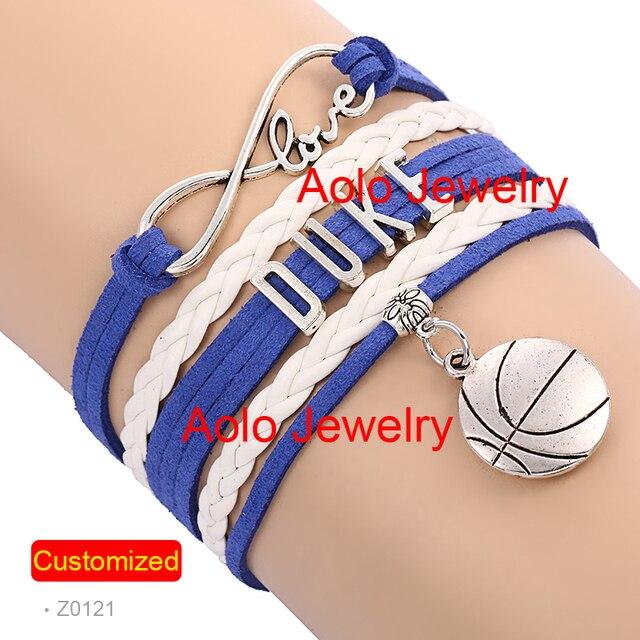 6pcs Lot Duke Basketball Infinity Bracelet Blue White Make Your Own Design Free Shipping