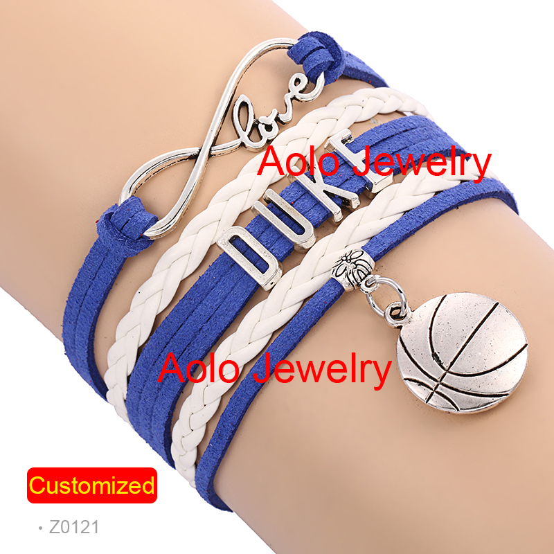 6Pcs/Lot DUKE Basketball Infinity Bracelet BLUE/WHITE Make Your Own Design Free Shipping #1300