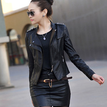 2017 autumn and winter women's PU short slim washed leather jacket women plus size stand collar faux sheep skin leather jackets