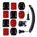 Capacete extension arm kit para xiaomi yi 4 k 2 go pro acessórios plano curved adhesive mount para gopro hero 5 4 3 sjcam sj4000