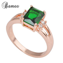 Size 5/6/7/8/9/10 Geometric Green Finger Ring Rose Gold Fill