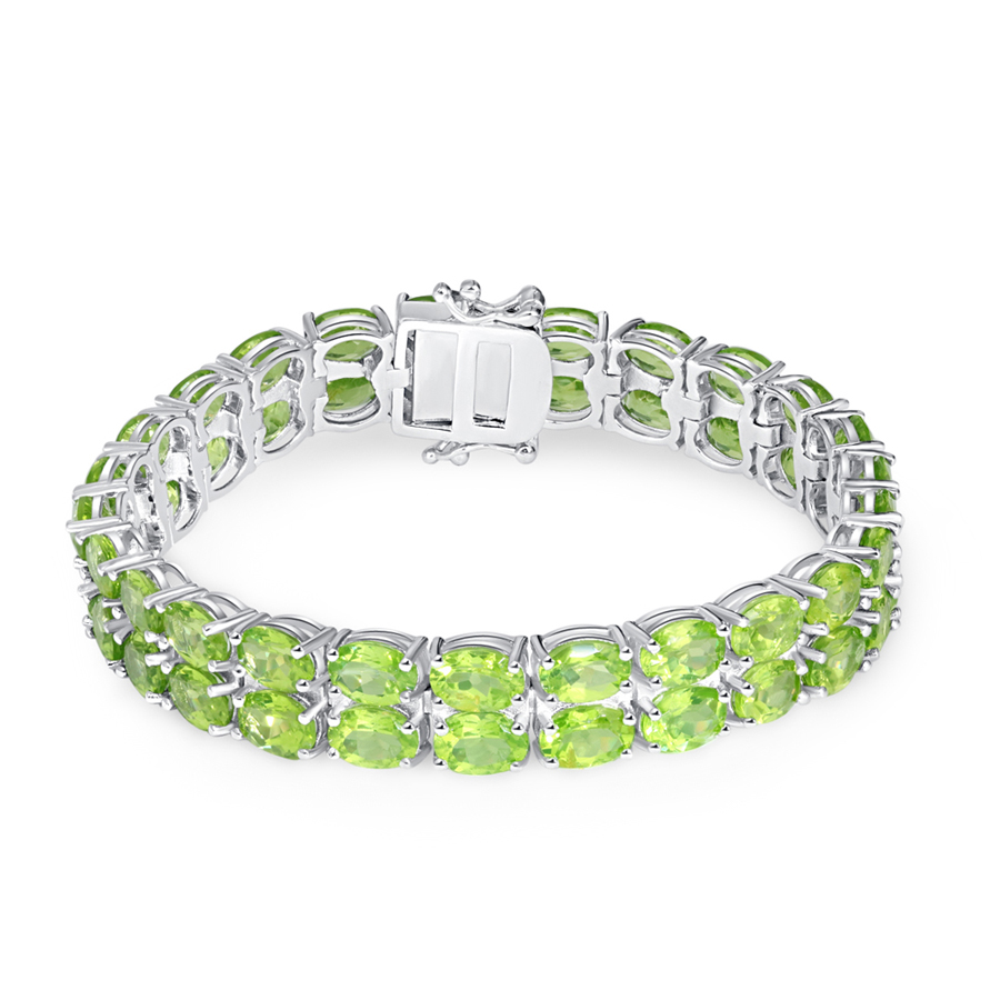 Sterling 925 Silver Nature Gemstone 7x5mm Oval double Row Peridot Tennis Bracelet