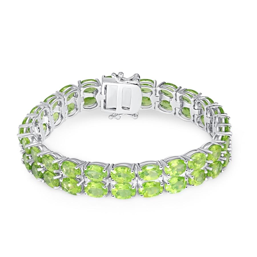 Sterling 925 Silver Nature Gemstone 7x5mm Oval double Row Peridot Tennis Bracelet