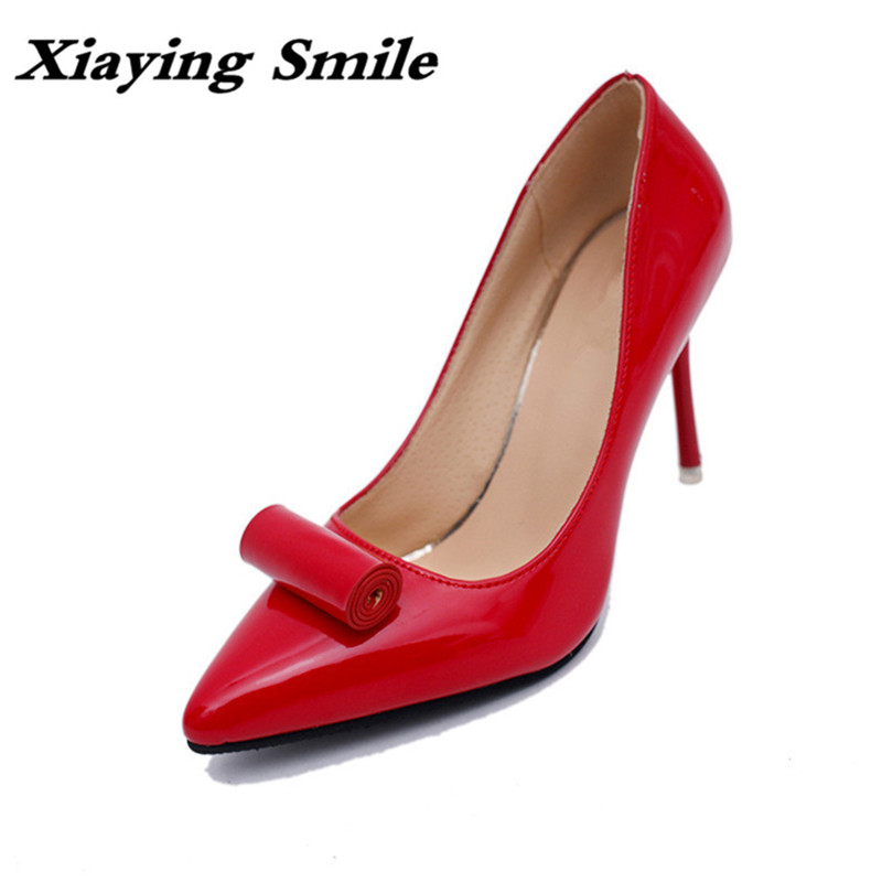 Xiaying Smile New Spring Autumn Woman Pumps Shoes Fashion Office Career Ladies Shoes Thin Heel Pointed Toe Shallow Women Shoes xiaying smile woman pumps shoes women spring autumn wedges heels british style classics round toe lace up thick sole women shoes