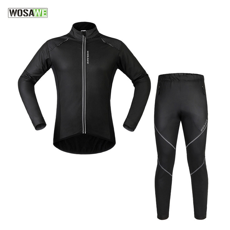 ФОТО WOSAWE Windproof Thermal Bicycle Long Sleeve Jersey Suit MTB Bikes Ciclismo Waterproof Reflective Jacket Sets Cycling Clothing