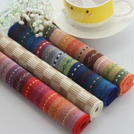 Free Shipping Colorful fashion pure stripe placemat table mat fabric western pad coasters disc pads dining table mat Pure cotton