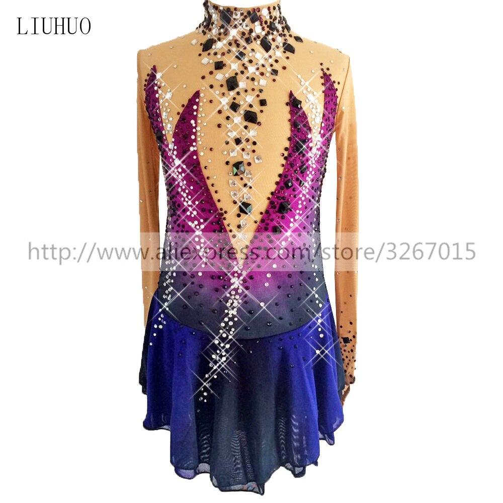 Vestido de patinaje artístico para mujer, vestido de patinaje sobre hielo, cuello alto, manga larga, púrpura, azul oscuro, brillante, con diamantes de imitación, competición