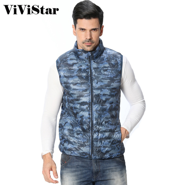 Men Camouflage Waistcoats 2015 New New High Quality Men's Camo Duck Down Vest F1096-EU