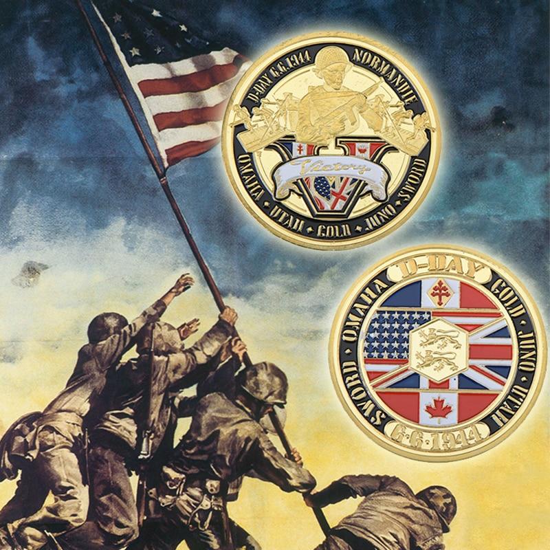 Normandie háború 70 éves évfordulója aranyozott érme Katonai érem 40 * 3 kihívás érme-amerikai érme