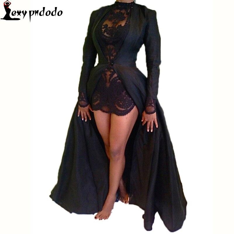 Maxi Dress Fashion Sexy Lace Dress Two Piece Black Long Sleeve Elegant Vintage Dress Cheap Chiffon