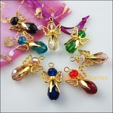 8 Uds alas de Color dorado danzantes colgantes de abalorio de Ángel de cristal mezclado 18x34mm