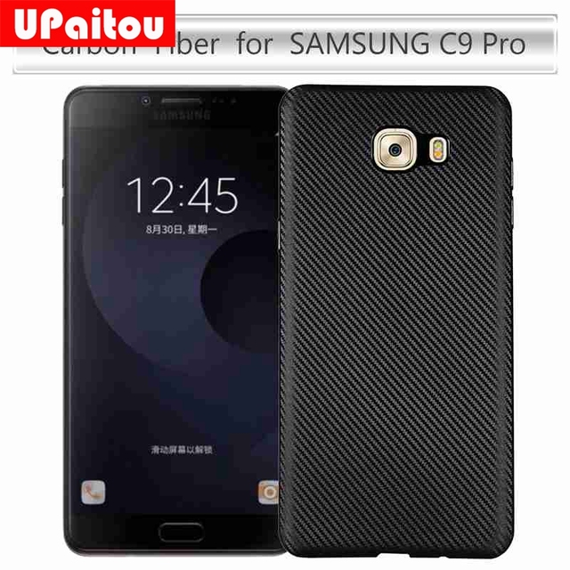 UPaitou Carbon Fiber Flexible Silicone Case for Samsung Galaxy C9 Pro Soft TPU Case for Samsung C9 Pro SM-C9000 C900F Back Cover