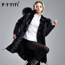 Large Zip Around Wallet Pink Raccoon In The Fall/winter New Coat Long Wool Collar Rex Rabbit Hair Dress