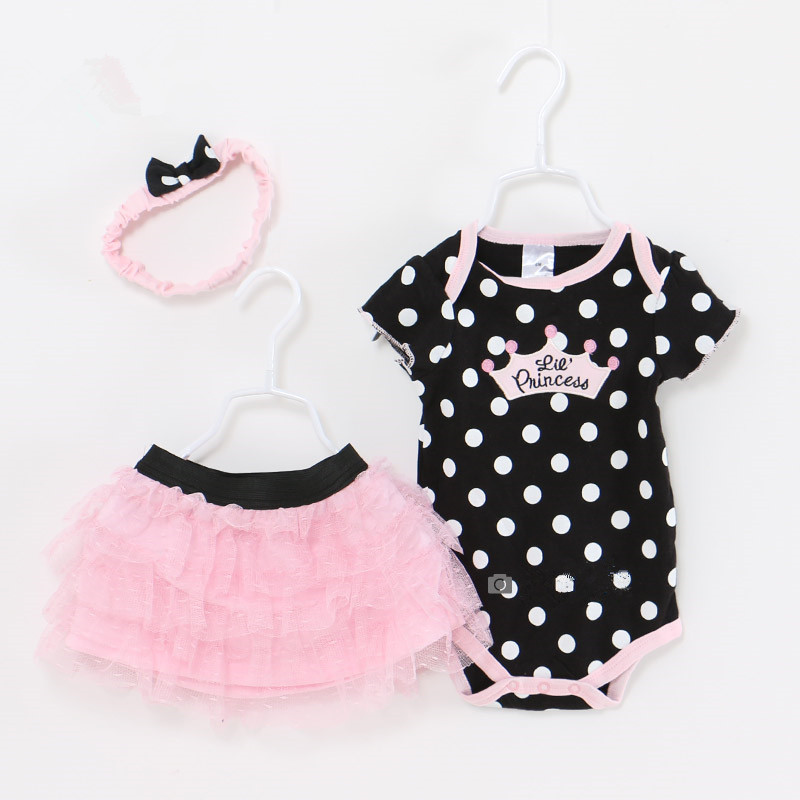 Baby Girl Clothes Newborn 3 Piece Suits Short Romper +Tutu Skirt + Headband Summer Girls Clothing sets for Infant Outfits red minnie children suits long sleeve newborn baby girl summer clothes bodysuit tutu skirt sets infant clothing toddler outfits