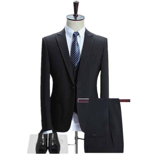 Blazer Hosen Weste Mode 3 Stuck Slim Fit Men Suit Set Luxus