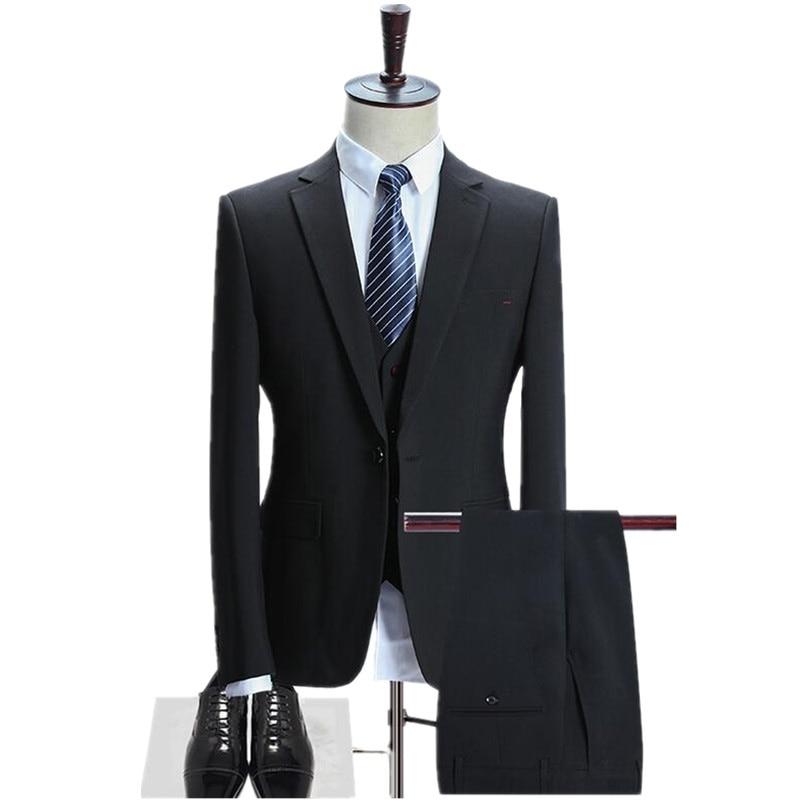 Mens Vêtements Slim Costumes blue Gilet Mode Pièce Fit Hommes Vintage Mariage 3 blazer Luxe Ensemble Casual Pantalon Black Pour De Marié Costume Convient FXOqcHwHZ