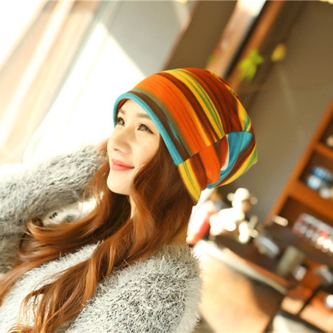 ac6b85a5a3324 ... Women s Hot Fashion Turban Autumn Winter Warm Headdress Caps Hat  Colorful Striped Scarf Work Out Beanies ...