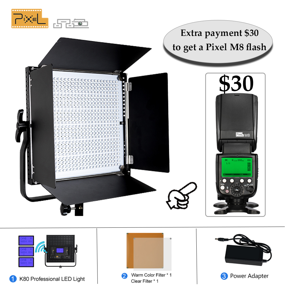 Pixel K80 Professional Photography 2.4G Wireless Transmission LED Lamp Outdoor Photo Light Wedding Film Photography Video Light