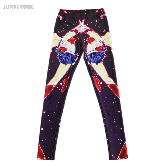 Galaxy Pants Women Graphic Print Leggings Skinny Sailor Moon Black Trousers Stretchy Sportwear Comic Soft Leggings Plus Size