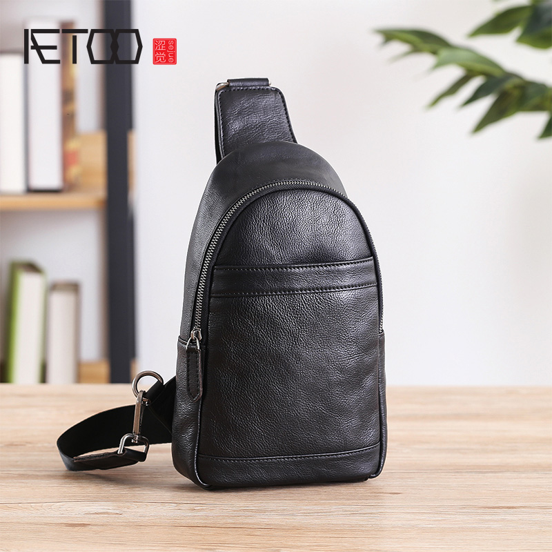 AETOO Chest bag, male leather casual single shoulder crossbody bag, large capacity mens head layer cowhide chest BagAETOO Chest bag, male leather casual single shoulder crossbody bag, large capacity mens head layer cowhide chest Bag