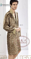 Mannen Gewaad 100% Pure Zijde Extra Dikke 19 MM Bloemenprint Lange Mouw Nachtkleding Kimono Maat L XL XXL