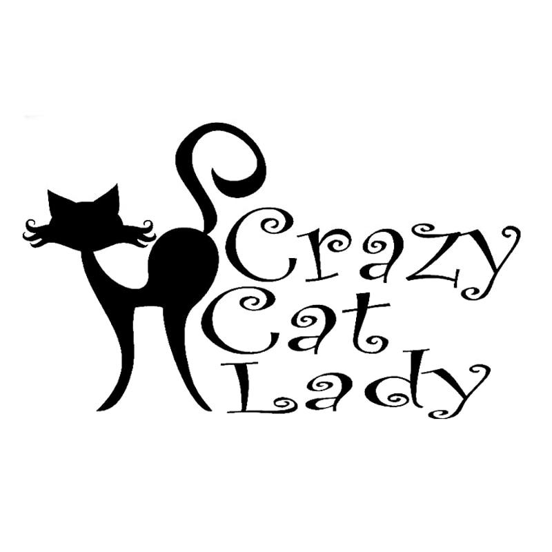 13 7cm 8 1cm Crazy Cat Lady Animal Accessories Car Sticker Motorcycle S4 0770