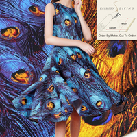 SewCrane 145cm Wide Royal Blue Peacock Feather Iridescent Gold Print 100 Cotton Fabric Apparel Fabric By