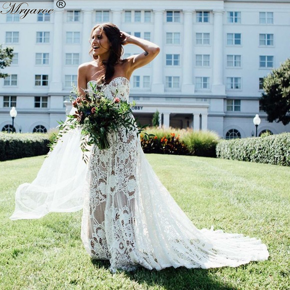 Mryarce Unique Wedding Dress 2019 Luxury Crochet Lace Beau Gown Boho Chic Hippie Bridal Gown Bell
