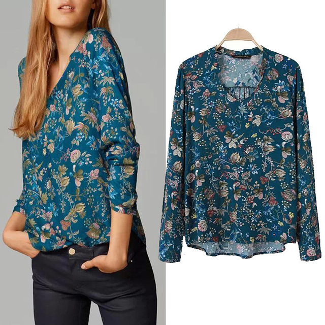 2015 Fashion Massimo Women's Long Sleeve Blouse Green Floral Print Loose Vintage Cotton Casual Tops Plus Size Blusas Brand za