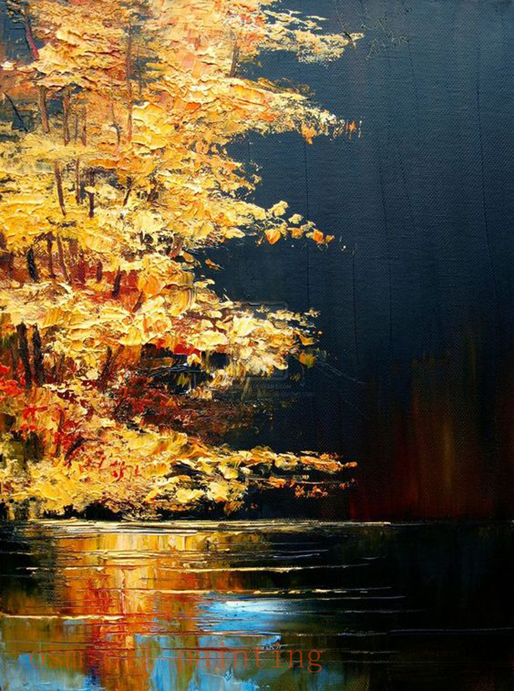 Handmade Amazing Art Knife Oil Paintings on Canvas Gold Yellow Tones Combined Such Light Bloom Tree Landscape Hang on the Wall