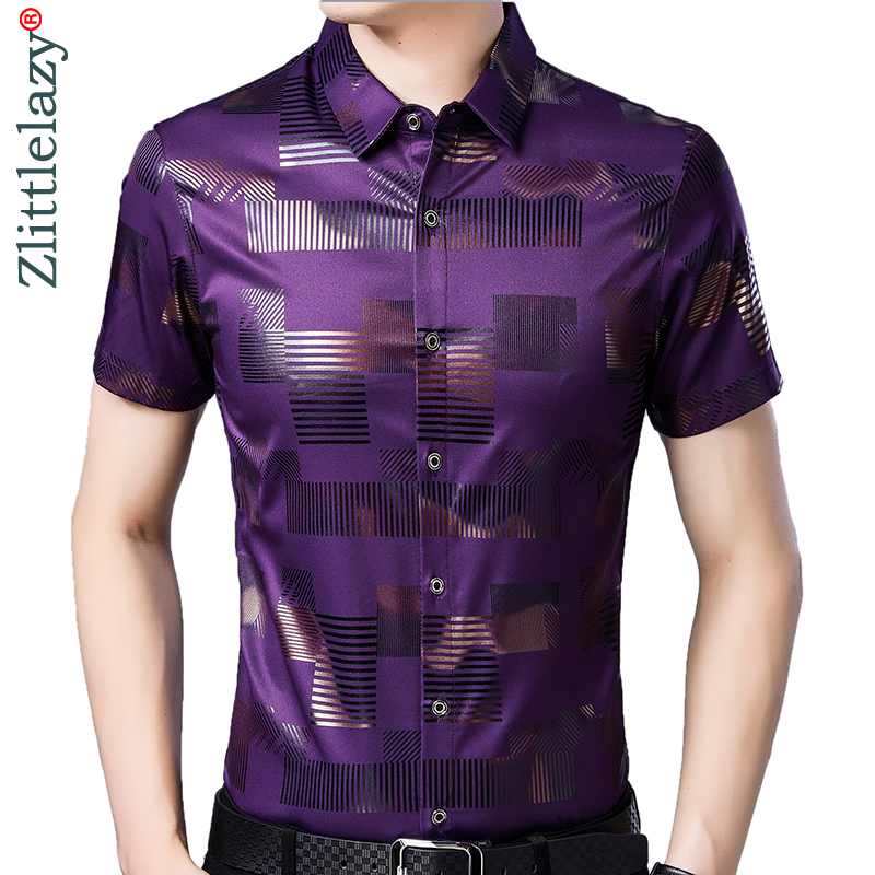 2019 Brand Casual Summer Luxury Plaid Short Sleeve Slim Fit Men Shirt Streetwear Social Dress Shirts Mens Fashions Jersey 51510