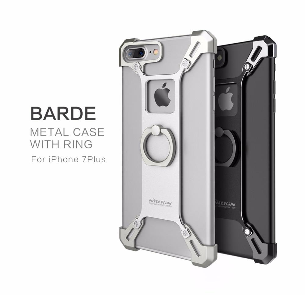 imágenes para Para apple iphone 7 parachoques de la cubierta de Nillkin Bardes aleación De Aluminio contraportada con el anillo de soporte para teléfono para el iphone 7 más caso