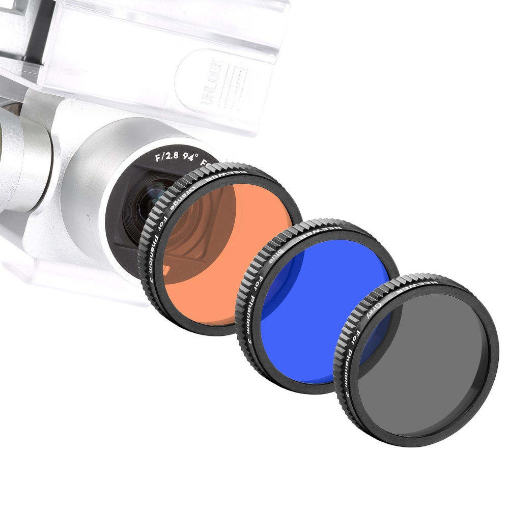 Neewer 3 Pieces Filter Kit for DJI Phantom 4 DJI Phantom 3 Professional+Advanced Full Color Lens Filter Set