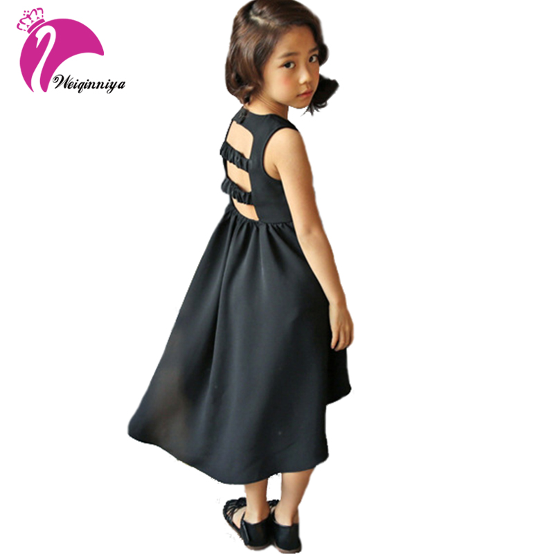Girls Sleeveless Dresses Summer Teenagers Cotton Solid Clothes Children Fashion Vest Beach Dress Casual Clothing 3-13Y Baby Kids 2016 retailer summer sleeveless tshirt and pant clothing set fashion kids casual summer clothes kid dress fashion clothes