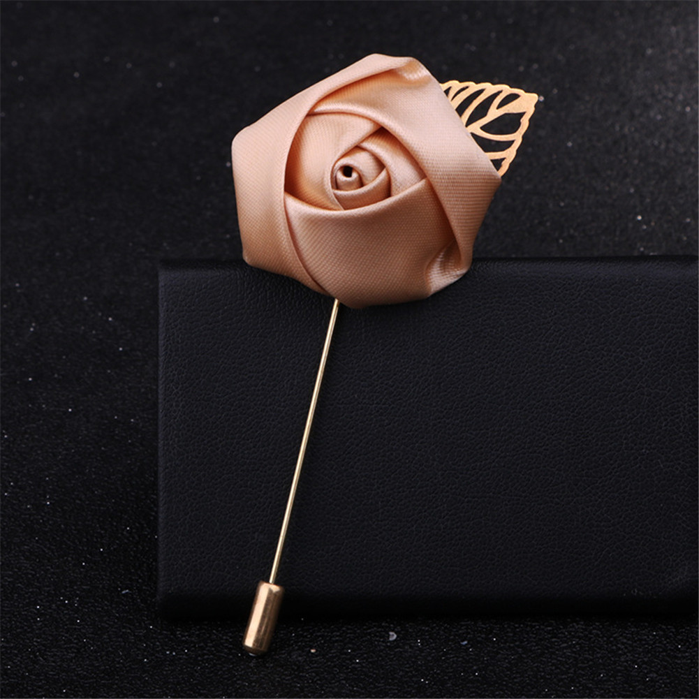 1pc Men Suit Rose Flower Brooches Canvas Fabric Ribbon Tie Pins Clothing Dress Elegant Blazer Accessories Solid Color