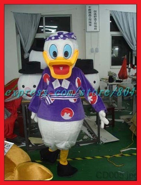 New Chrismas costume Donald Duck cartoon Costume Mascot fur Costume Cosplay Funny Costume Free Shipping