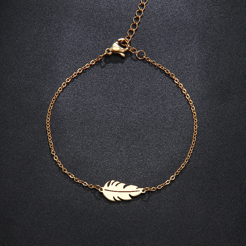 CACANA Stainless Steel Sets For Women Feather Shape Necklace Bracelet Earring Jewelry Lover's Engagement Jewelry S379 13