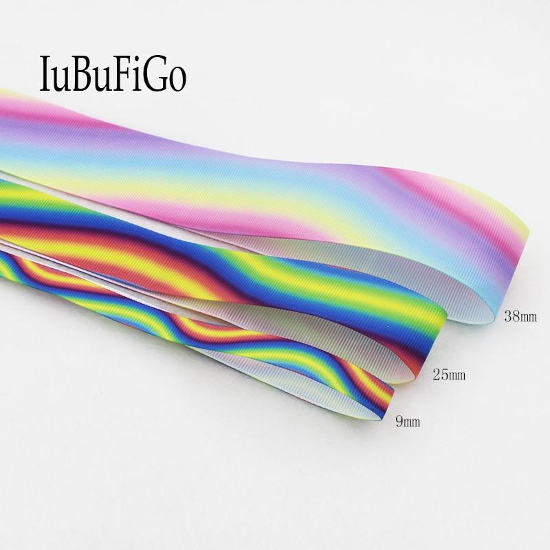 [IuBuFiGo] 10 yard Rainbow Printed Grosgrain Ribbon 3/8,1,1-1/2 bright and colourful ribbon DIY Handmade Decorative tape 1751