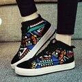 {D & H} Califique A Las Mujeres Zapatos de Graffiti Zapatos Ocasionales Con Cordones Altos Zapatos de Lona Superiores de La Calle de La Cadera hop Superestrella Zapatos Chaussure femme