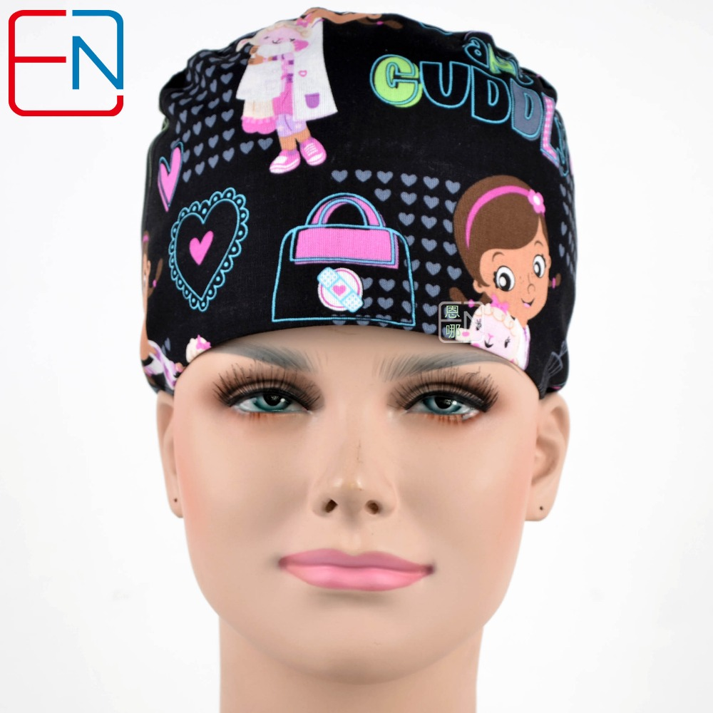 Hennar Brand Unisex Surgical Caps/hat  In Black With Little Doc
