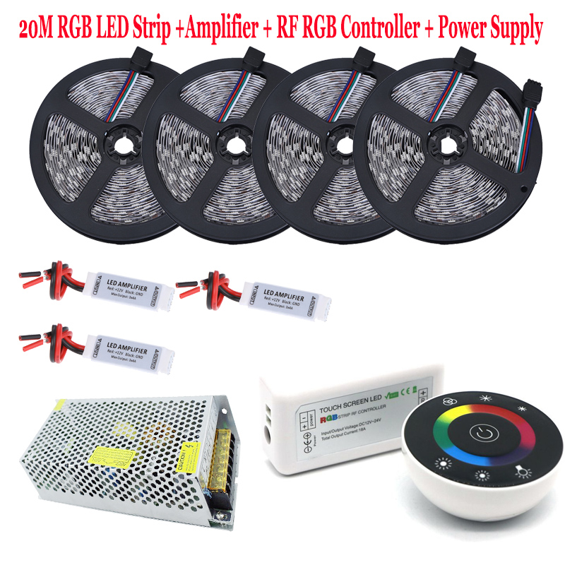 5050 IP65 Waterproof RGB LED Strip Diode Tape Flexible Holiday Light RF Remote RGB Controller 12V DC 15A Power Supply Full Kit 20m rgb led strip 5050 flexible led light 50leds m 4pcs 4 zone controller led remote control 12v 15a power supply kit